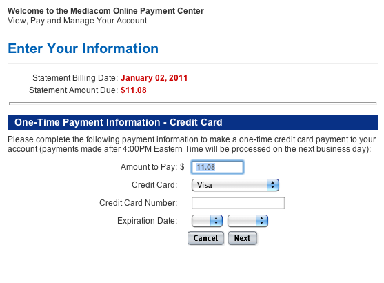call mediacom pay bill